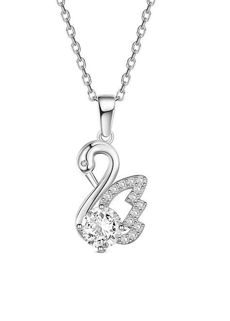 925 Sterling Silver Swan Necklace 925 sterling silver necklace swan pendant with aaa zircon