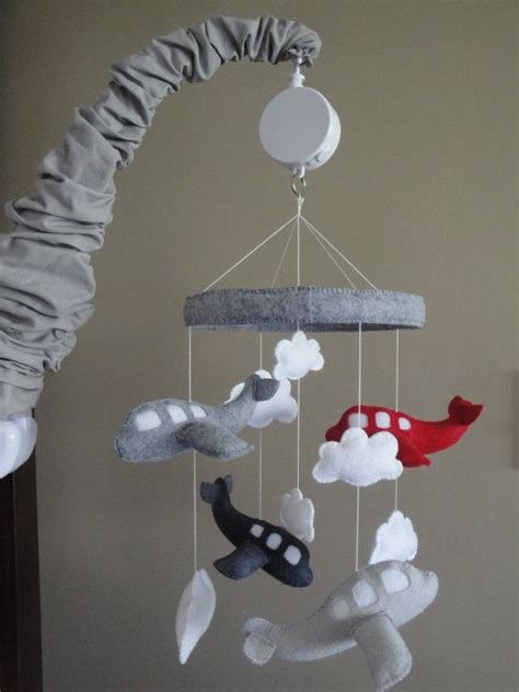 Gray Crib Mobile by Baby Crib Mobile Airplane Baby Mobile Grey And