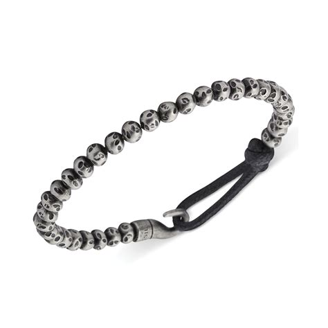 Fossil Mens Stainless Steel Bead and Bungee Hook Bracelet in Gray for Men   Lyst