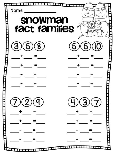 First Grade Information Families Of Fact | snowman fact families free worksheets 1st 2nd grade