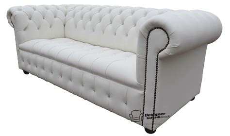 Chesterfield White Leather Sofa by Chesterfield Diamante Buttoned 3 Seater Real White