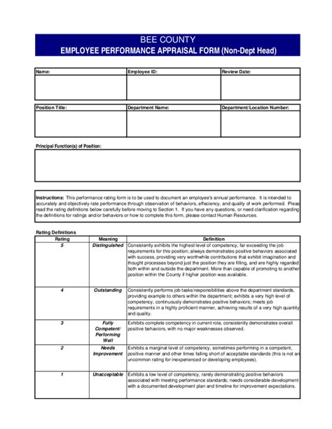 Employee Performance Evaluation Form Texas Free Download Employee Competency Assessment Template
