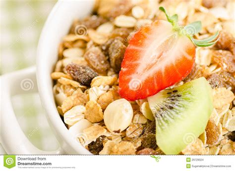 Tropical Muesli Cereal Healthy Food Healthy Breakfast healthy breakfast with muesli cereal with fruits berries nuts stock images image 29729024