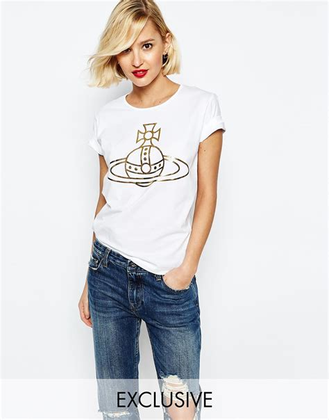 vivienne westwood t shirt lyst vivienne westwood anglomania t shirt with orb print