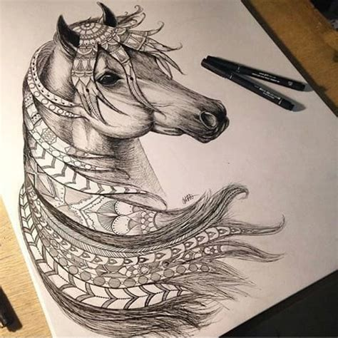 tattoo pen for livestock zentangled horse zentangles pinterest tangled