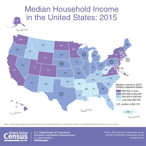 average rent in united states map median household income in the united states 2015
