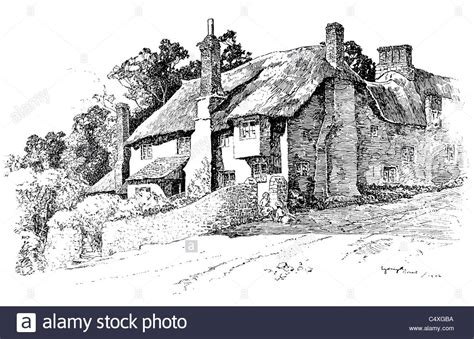 Devonshire Country Cottages by Thurlestone Devonshire Pen And Ink Illustration From
