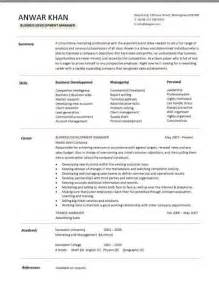 Sles Of Business Resumes by Business Development Manager Cv Summary Skills Career