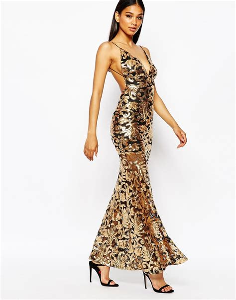 black and gold l lyst l showstopper open back sequin maxi dress with