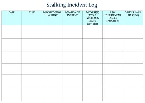 incident report log template 20 incident report template exle stalking