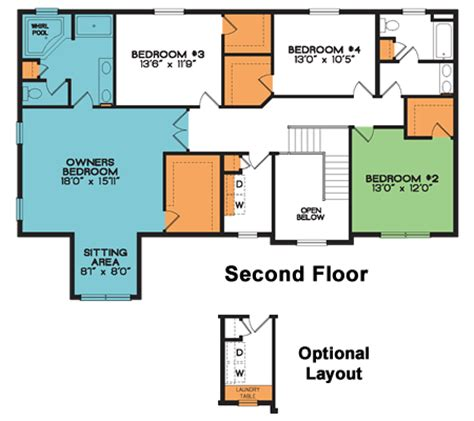 home design ipad second floor two story home plan meridian 4 bed 2 5 bath 2 969 sq ft