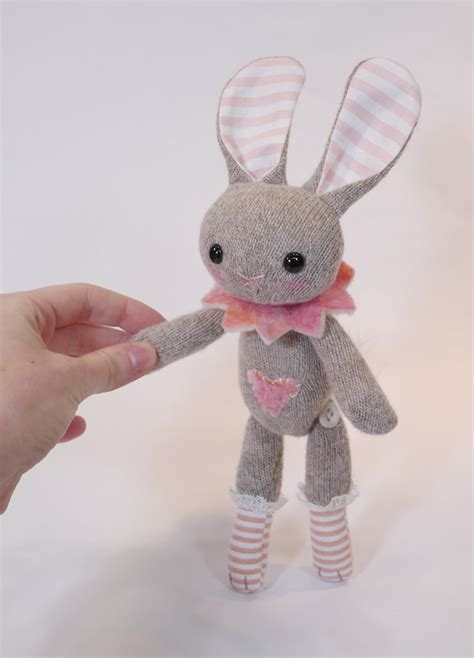 Handmade Stuffed Bunny - jointed plush made with felted wool sweater lithe