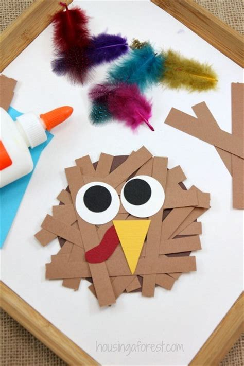 Paper Crafts For Thanksgiving - paper turkey craft housing a forest