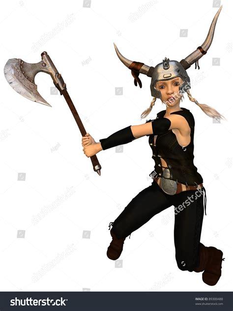 axe swing cute fantasy style viking warrior girl stock illustration