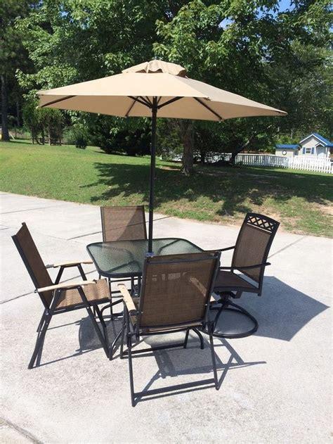 patio set  piece   umbrella glass top