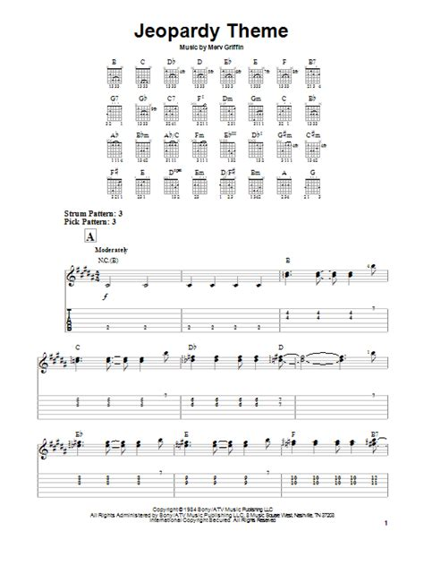 theme music jeopardy jeopardy theme sheet music by merv griffin easy guitar