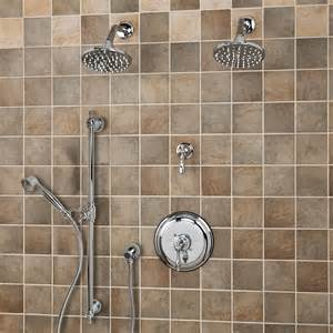 two shower heads bostonian pressure balance shower system two shower