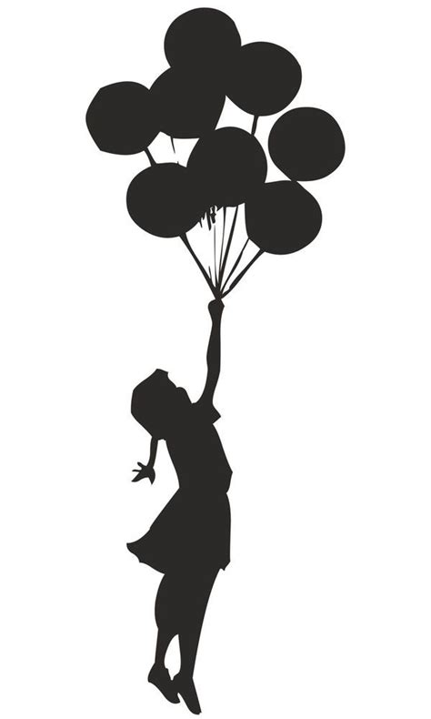 details  banksy girl floating  balloons wall