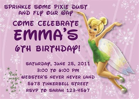 printable invitations tinkerbell tinkerbell birthday invitations customizable printable