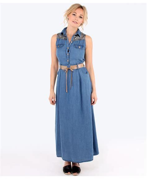 Denima Maxy Dress sequin denim maxi dress dresscab