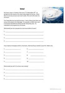4 free esl hurricane worksheets