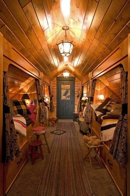 rustic attic bedroom built in beds in hallway