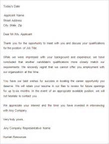 Decline Letter Exle Of Rejection Letter Email After Rejection Sle Letter