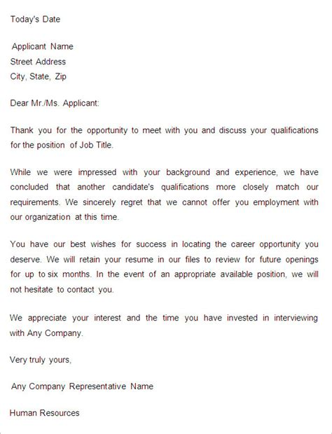 rejection email template 27 rejection letters template hr templates free
