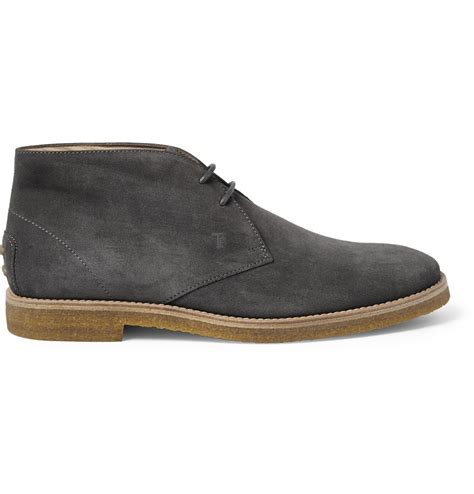 suede desert boots tod s suede desert boots in gray for lyst