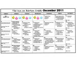 activity calendar template for seniors barton creek assisted living other activity calendars
