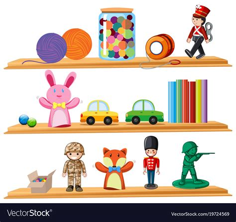 Image Of Wooden Shelves With by Toys And Books On Wooden Shelves Royalty Free Vector Image