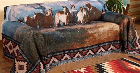 western couch covers mustang drive sofa cover cowboy country pinterest