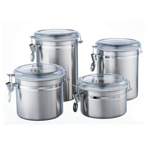stainless steel kitchen canisters 4 pcs s s steel tea coffee sugar canister kitchen air tight sealed jar with lids ebay