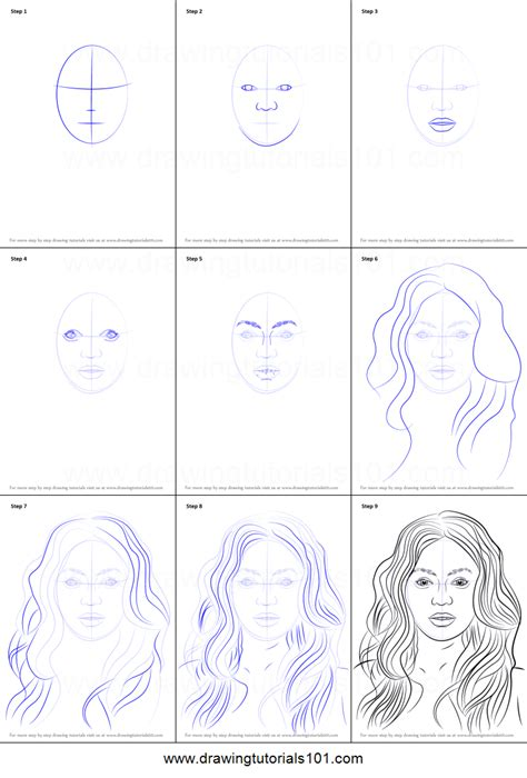 doodle drawing step by step how to draw beyonce knowles printable step by step drawing