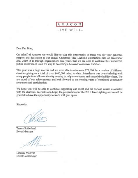 thank you letter new business partner thank you letter from amacon