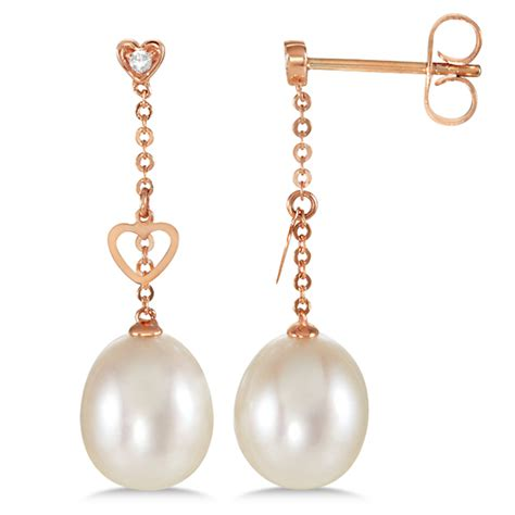 Kalung Hanging Big Diamonds Necklace freshwater cultured pearl hanging earrings 14k gold 0 02ct