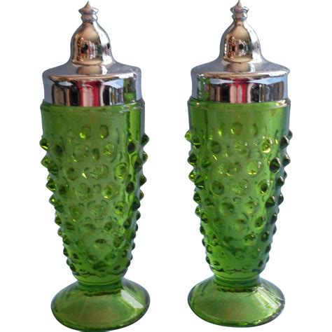 Green Glass L Vintage by Vintage Green Hobnail Glass Shakers Chrome Lids Salt
