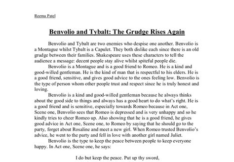 Tybalt And Mercutio Essay by Compare And Contrast Benvolio And T