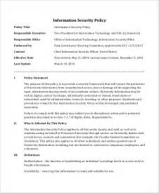 data encryption policy template data security policy template security policy sle 8 exles