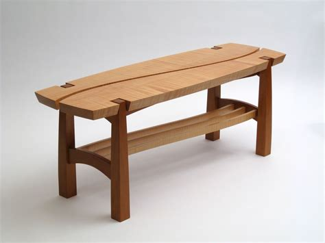 cherry bench custom curly maple and cherry bench by dogwood design