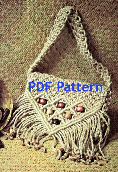 Macrame Bag Pattern - macrame purse jute tote bag cord purse vintage 1970 s