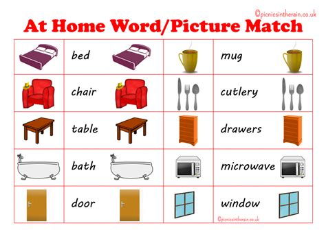 printable games to play at home at home word picture match game with free printable