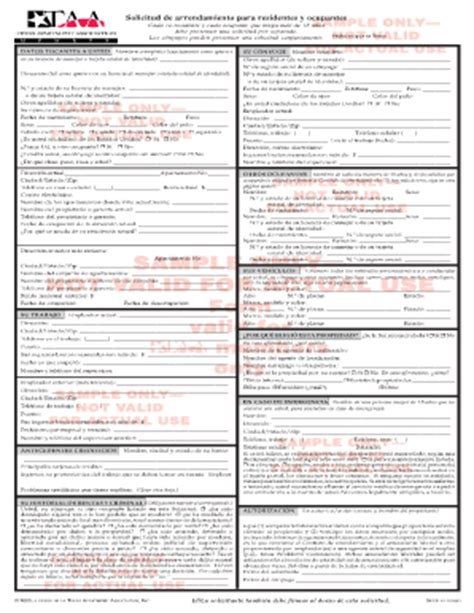 Taa Apartment Lease Form Fillable Taa Sle Taa Rental Application