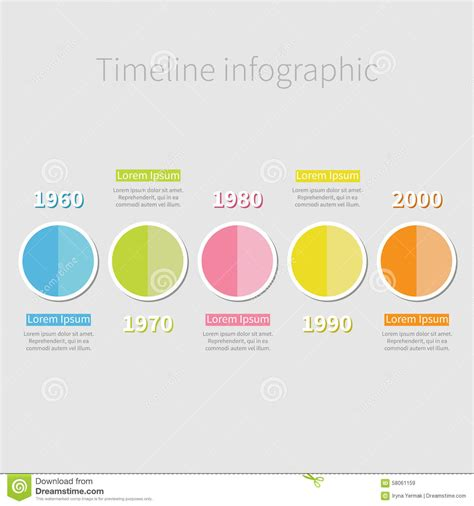 flat design text effect timeline infographic with colored round half circle and