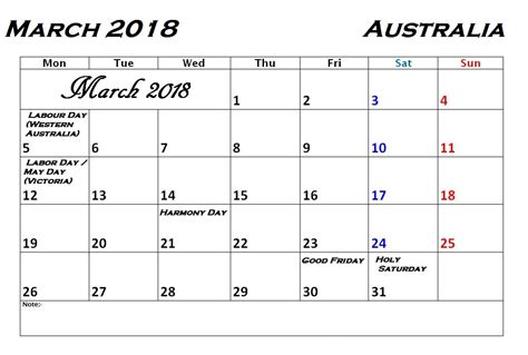 printable calendar victoria 2018 march 2018 calendar with holidays calendar 2018