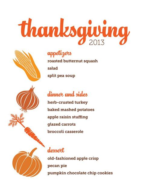7 best images of printable thanksgiving menu
