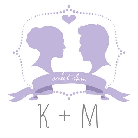 free printable diy silhouette wedding monogram template