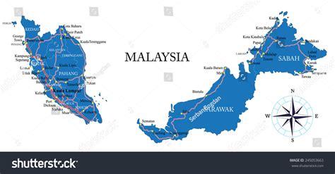 vector malaysia map malaysia map stock vector 245053663