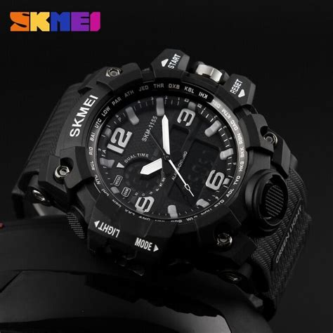 Jam Tangan Skmei 1155 Waterproof Digital Analog 100 Original Murah skmei jam tangan analog digital pria ad1155 black white jakartanotebook