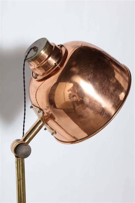 copper floor l shade large early electric infralite brass steel and copper